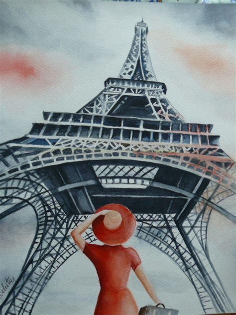 touriste sous la  eiffel paris peinture par marie
