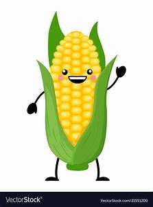 Kawaii cartoon corn isolate Royalty Free Vector Image