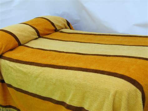retro mod gold  brown striped fuzzy chenille