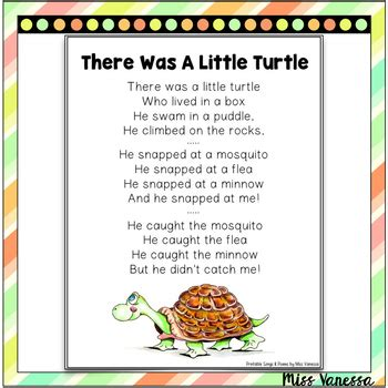 He climbed on a rock. There Was A Little Turtle Who Lived In A Box Poem by Miss ...
