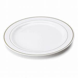 Assiette Rectangulaire Blanche : assiette en plastique rigide blanc liser or 26 cm ~ Teatrodelosmanantiales.com Idées de Décoration