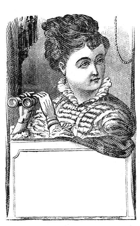 vintage clip art marvelous lady  binoculars label