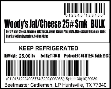 Gs128 Meat Traceability Label