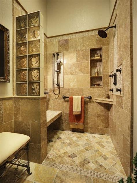 open shower concept bench shelves amber glass blocks