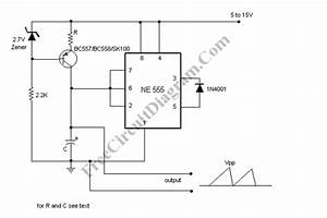 Sawtooth Wave Oscillator Using 555 Ic  Ne555  Circuit