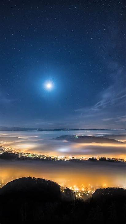 Sky Night Stars Clouds Earth Space Moon