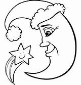 Moon Coloring Pages Christmas Crescent Drawing Face Vector Clipart Stars Star Preschoolers Getdrawings Characters Illustration Clip Adults Night Sun Printable sketch template