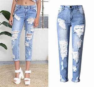 2016 Big Hole Jeans for Women With Ripped Jeans Light Blue Denim Pants boyfriend jeans for women ...