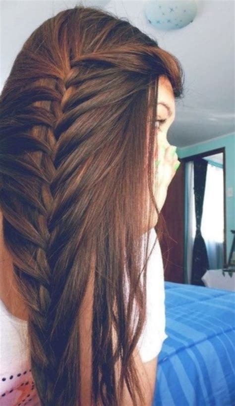 brown hair loosely braided   side hair beauty