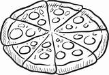 Pizza Clipart Coloring Slice Printable Pepperoni sketch template