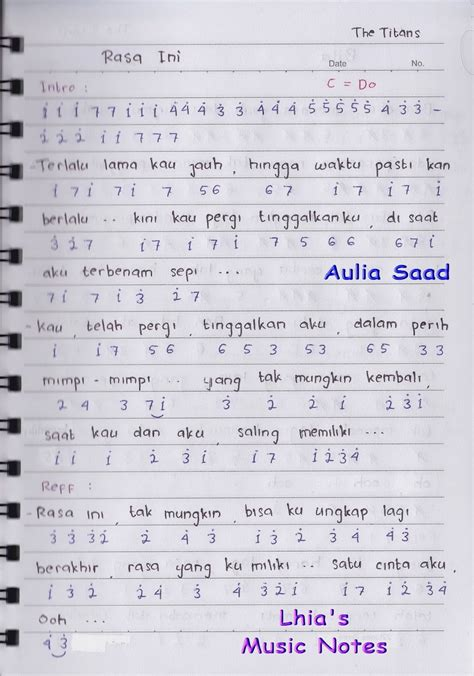 not pianika lagu tinggal kenangan not angka the rasa ini aulia 39 s