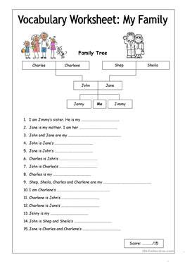 esl relatives worksheets