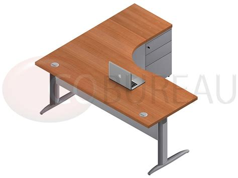 bureau en l bureau compact 180 cm pro métal avec caisson métallique