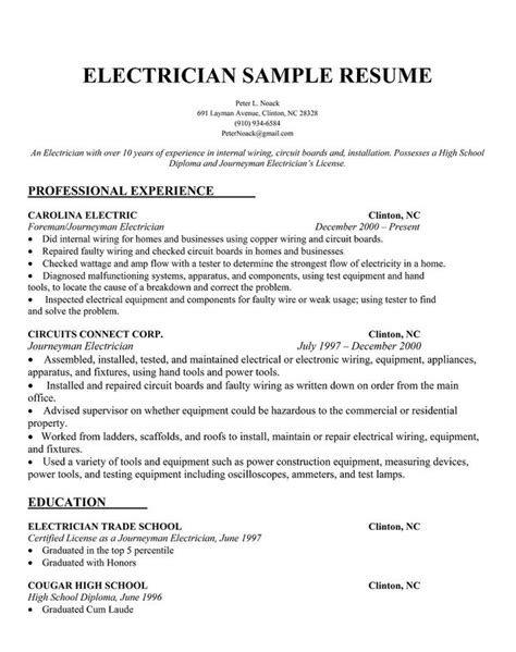 electrician resume sample interview ready pinterest