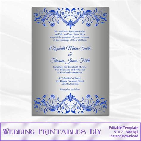 Royal Blue And Silver Wedding Invitation Template, Diy
