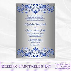 Royal blue and silver wedding invitation template diy for Free printable wedding invitations royal blue