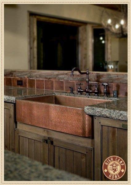 copper farmhouse sink  love  rustic cabinets    house ideas pinterest