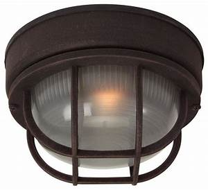 Small round cast ceiling mount outdoor light