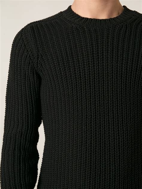 mens black sweater rick owens ribbed sweater in black for lyst