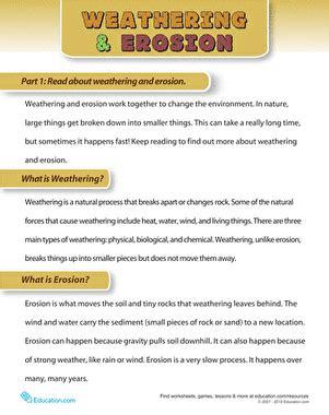 Weathering And Erosion  Worksheet Educationcom
