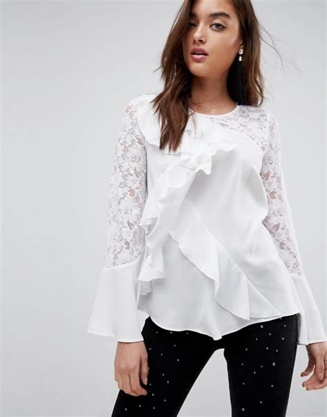 River Island Fluted Sleeve river island frill front lace sleeve blouse asos