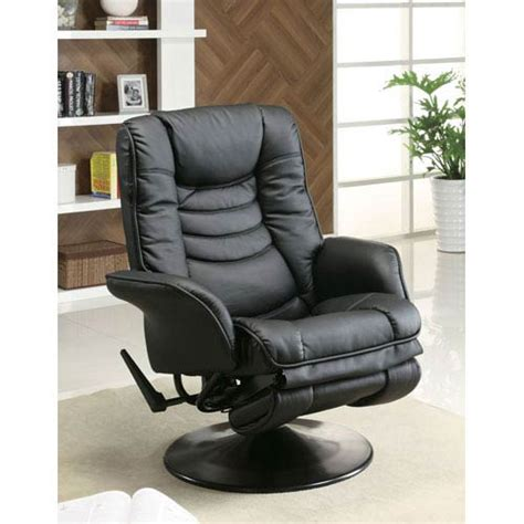 small reclining chairs canada black casual leatherette swivel recliner coaster furniture