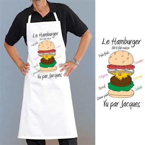 tablier de cuisine personnalisé tablier de cuisine motif hamburger personnalisé cadeau original