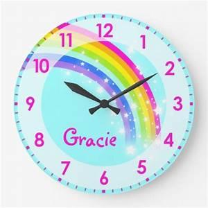 Fun, Kids, Girls, Rainbow, Name, Aqua, Pink, Wall, Clock