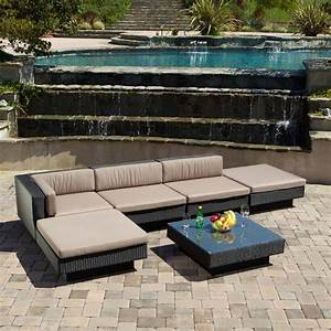 Outdoor Patio Furniture 6pcs Wicker Luxury Sectional Sofa ...