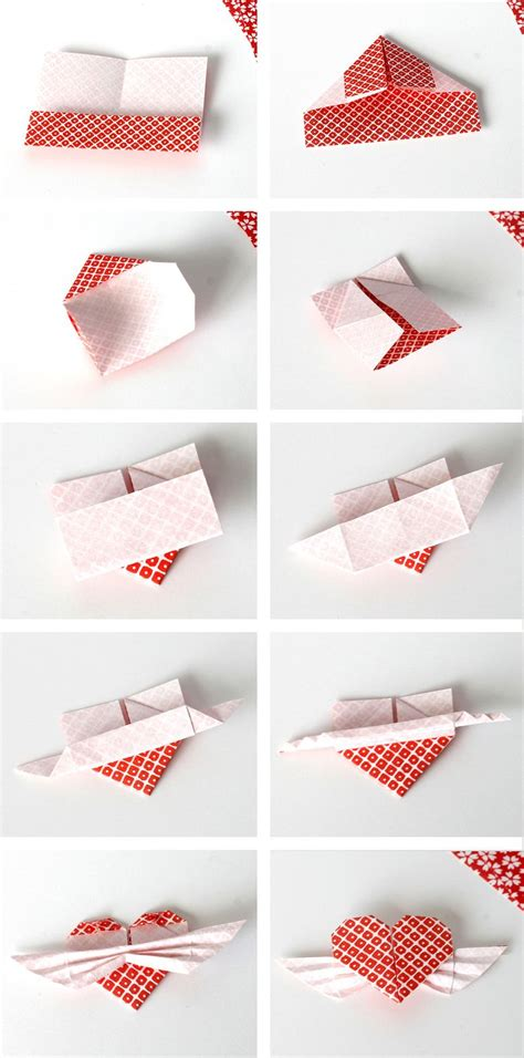 diy origami winged heart cupcake toppers diy
