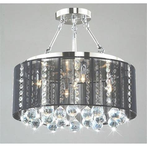 Black Drum Shade Chandelier With Crystals by 45 Ideas Of Black Drum Chandelier
