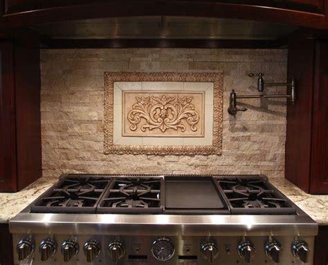 custom kitchen backsplash hand crafted backsplash insert floral tile with flat strips and small acanthus liners by
