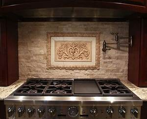 Hand crafted backsplash insert floral tile with flat for Custom made white glass backsplash tiles