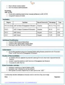 Mba Resume Sles India by Mba Finance Fresher Resume Template 2 Career