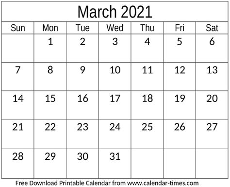 March 2021 Calendar Monthly Template Download