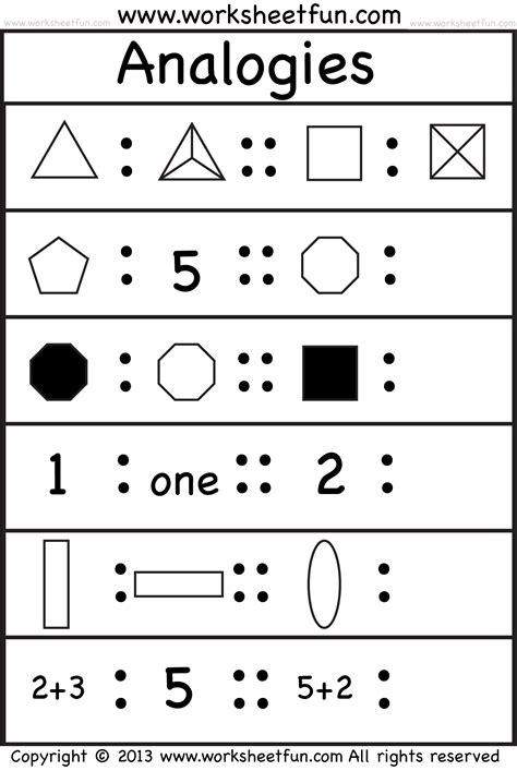 picture analogies 4 worksheets free printable