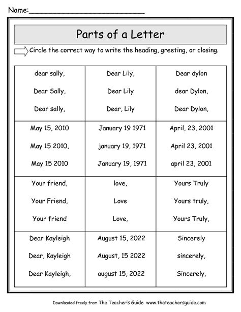 Friendly Letter Worksheets from The Teacher's Guide