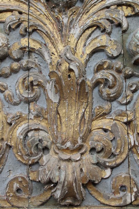 antique wood carving gold distressed paint interior