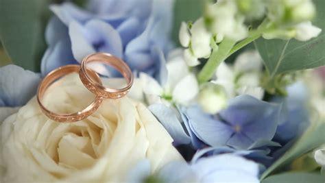 Translation Focus On Wedding Rings. Macro Stock Footage