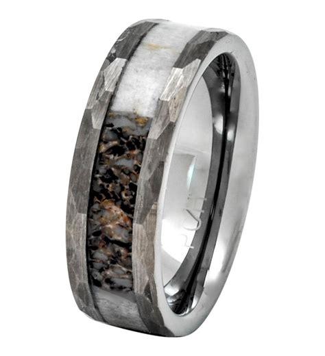 Deer Antler Ring In Tungsten Hammered Finish 8mm Comfort