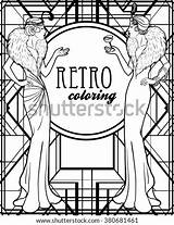 Coloring Retro Twenties Roaring Flapper 20s Adults Vector Recreation Illustration Illustrations Outlines Shutterstock Footage Vectors sketch template