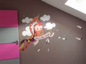 fresque murale chambre denfants popote creativ With dessin mural chambre fille