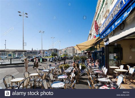 cours de cuisine marseille vieux port harbourfront cafe bar on the quai des belges vieux port district stock photo royalty free