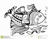 Coloring Columbine Animals Fish Cartoon sketch template