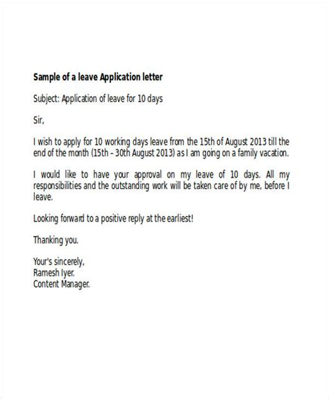aplication leter for leave due to ilnes exles of leave application images cv letter