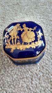 Vintage Cobalt Blue Limoges France Trinket Box By Timdebswhatnotshop On Etsy