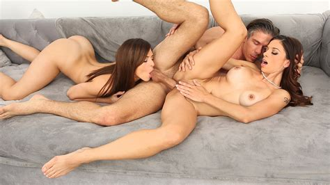 Naked Girls Teen And Stepmom Enjoy One Big Cock Together