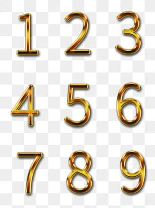 gold numbers png vector psd  clipart