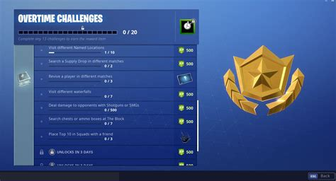 fortnite overtime challenges    complete