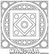 Mandala Coloring Rectangle Mandalas Square Template Shape Templates sketch template